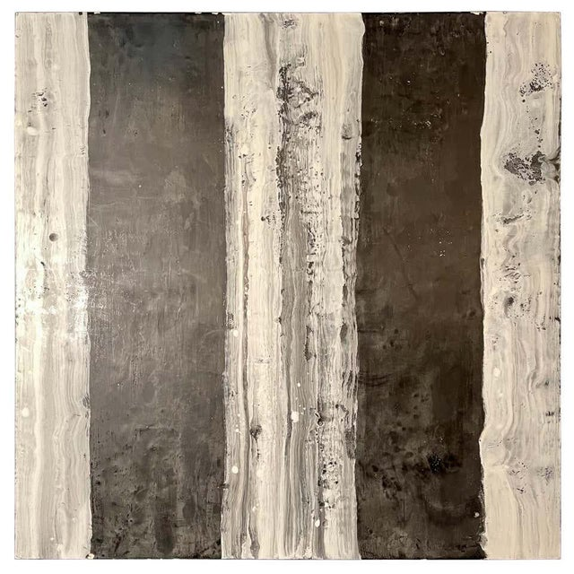 "Lynn Basa Encaustic Black and White Stripe Panel ""Camino"", 2018 For Sale - Image 11 of 11"