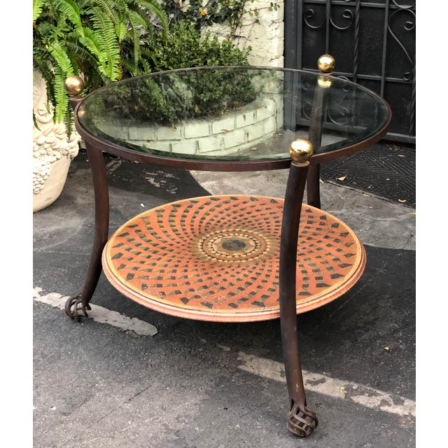 Vintage 1980's Modern Round Wrought Iron & Beveled Glass Side Table