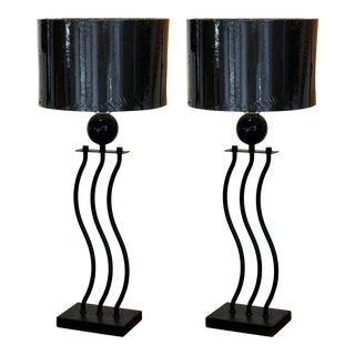 1980s Contemporary Steel & Granite Squiggle Lamps - A Pair For Sale
