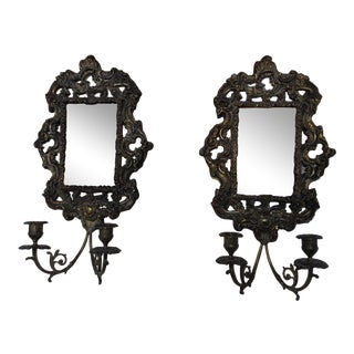 Antique Brass Repousse Mirror Candle Wall Sconces - Pair For Sale