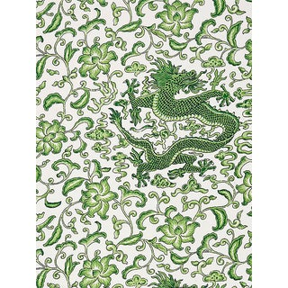 Scalamandre Chi'En Dragon Linen Print, Jade Fabric For Sale