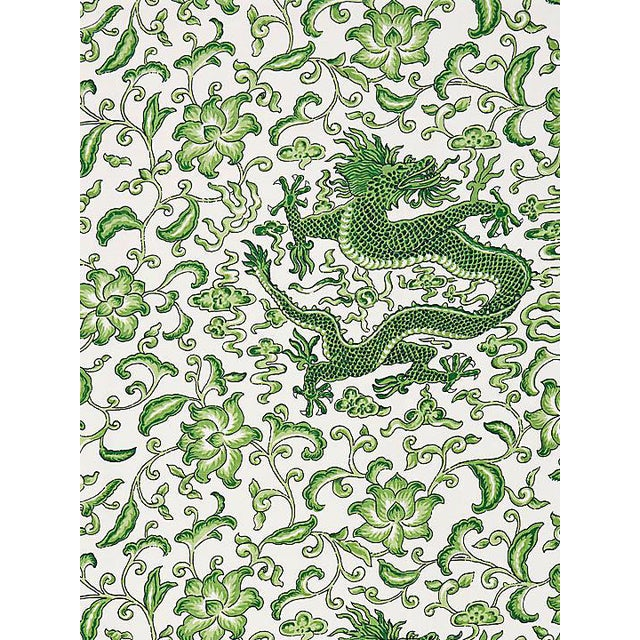 Scalamandre Chi'En Dragon Linen Print, Jade Fabric For Sale