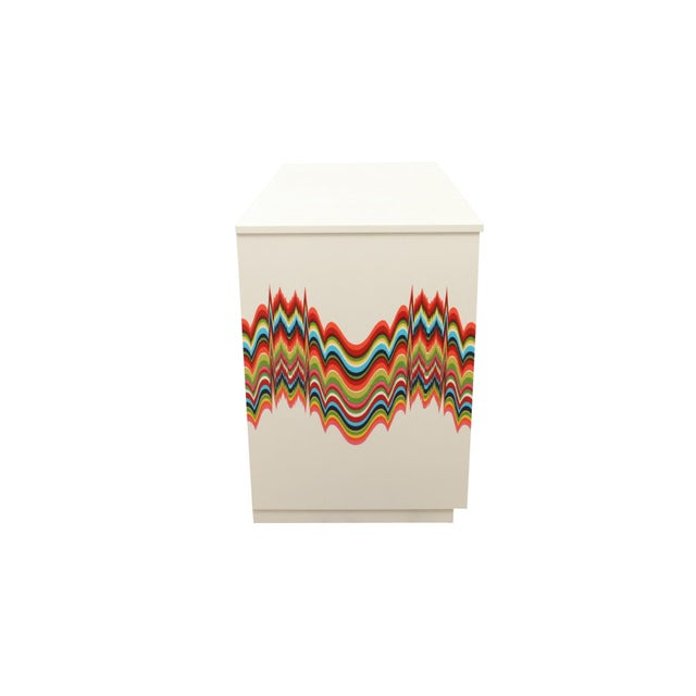 Fabric 1960s Boho Chic Dresser Wrapped in Technicolor Fabric For Sale - Image 7 of 8
