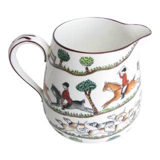 Vintage Crown Staffordshire Hunting Scene Milk or Cream Pitcher For Sale