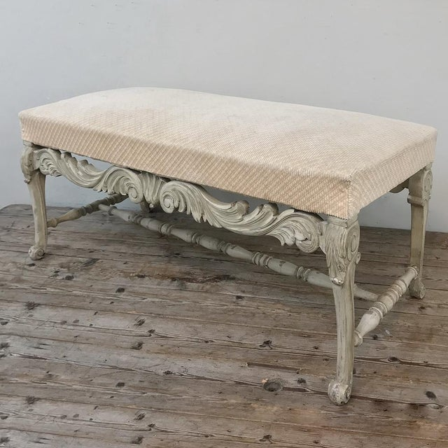 French Antique French Louis XIV Painted Bench For Sale - Image 3 of 13