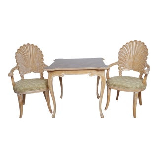 Venetian Shell Scalloped Back Grotto Carved Wood Italian Dining Chairs and Table- 3 Pieces For Sale