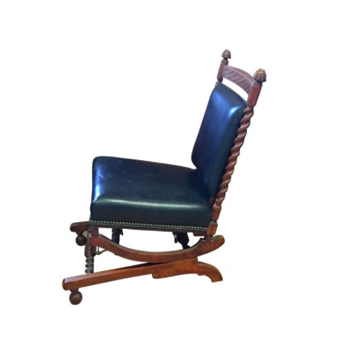 1880s Sliding Rocking Chair, Leather & Wood Victorian Furniture - Image 5 of 5