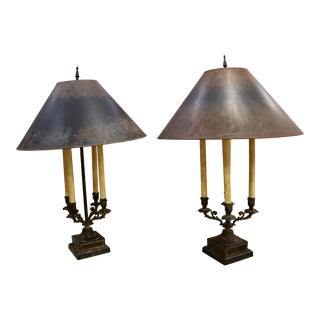 Vintage Bronze Candelabra Table Lamps With Shades - a Pair For Sale
