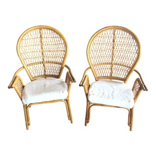 1980s Vintage Wicker Bamboo Chairs - A Pair For Sale