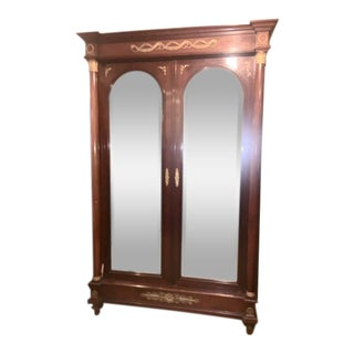 19th Century French Empire Bronze Mounted Mirror Armoire For Sale