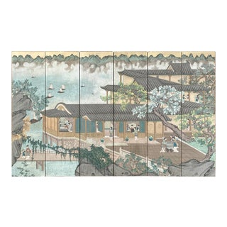 Chinoiserie Six Panel Wallpaper Screen For Sale