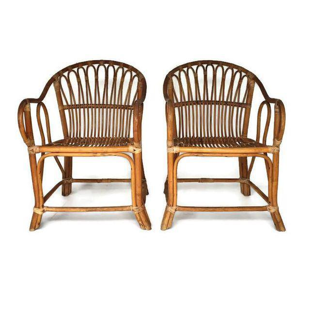 Bamboo Mid Century Modern Bamboo Chairs Sculpted Bent Bamboo Franco Albini Style - a Pair For Sale - Image 7 of 11