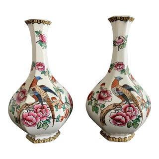 Antique F. Winkle & Co Whieldon Ware England Pheasant Vase - a Pair For Sale