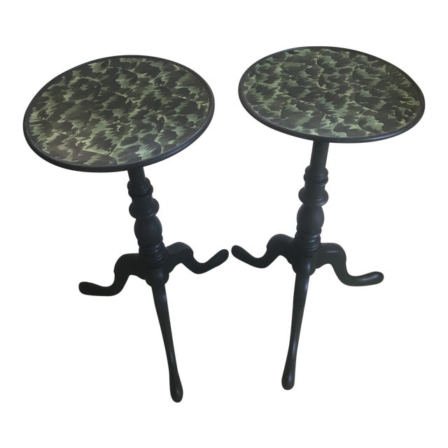 20th Century Regency Faux Tortoise Shell Top Side Tables - a Pair For Sale