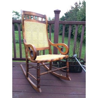 Hand Carved Oak and Cane Rocking Chair Preview