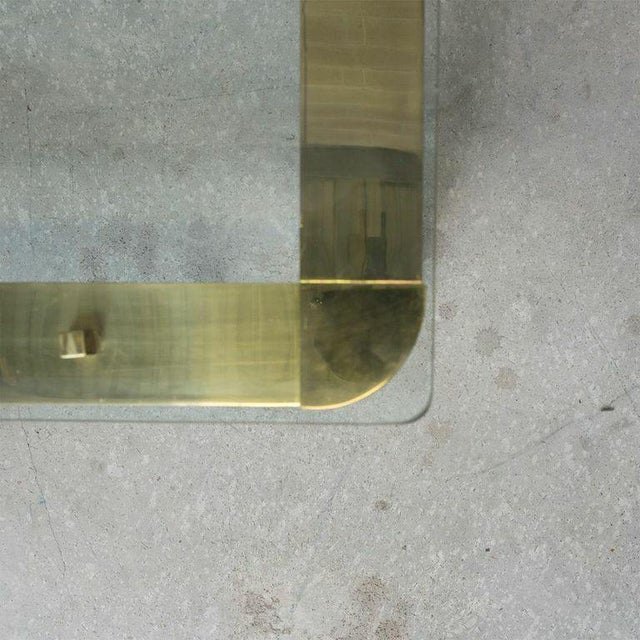 Pace Mid-Century Modern Brass and Floating Glass Cocktail Table - Image 3 of 6