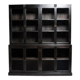 British Colonial Teak Wood Breakfront Bookcase For Sale