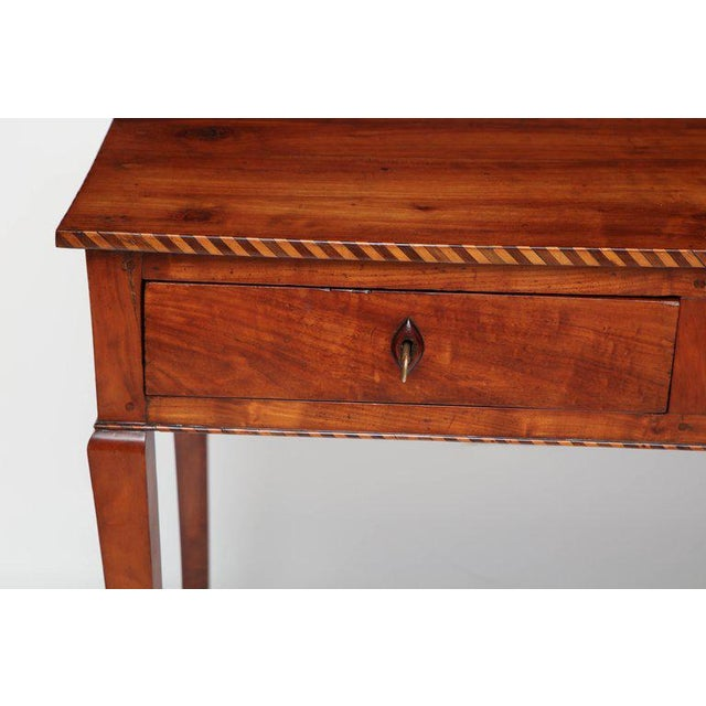 Italian 18th Century Italian Cherry Table With Parquetry Border and Two Drawers For Sale - Image 3 of 10