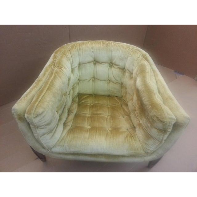 Gio Ponti Original Tufted & Tucked Gold Velvet Tripod Club Chair - Image 4 of 11