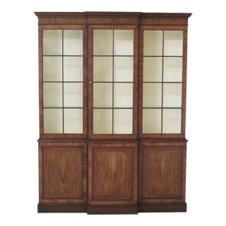 Baker Walnut George III Style China Cabinet For Sale