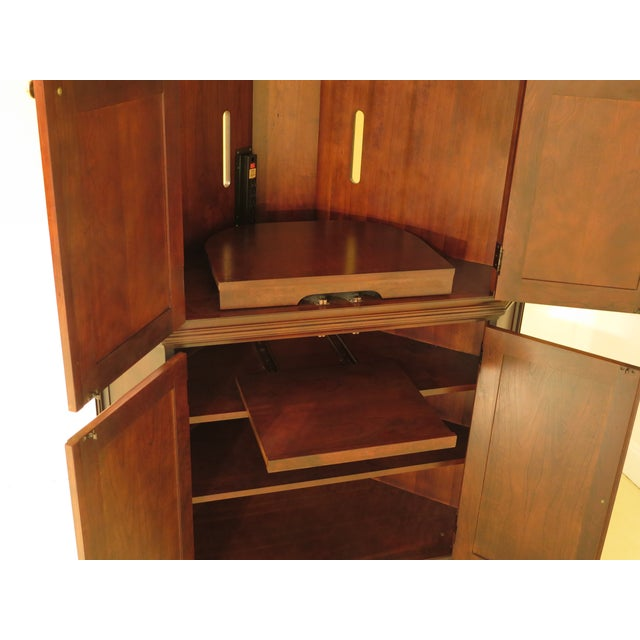 Brown Raised Panel Door Solid Cherry Tv Corner Cabinet For Sale - Image 8 of 13
