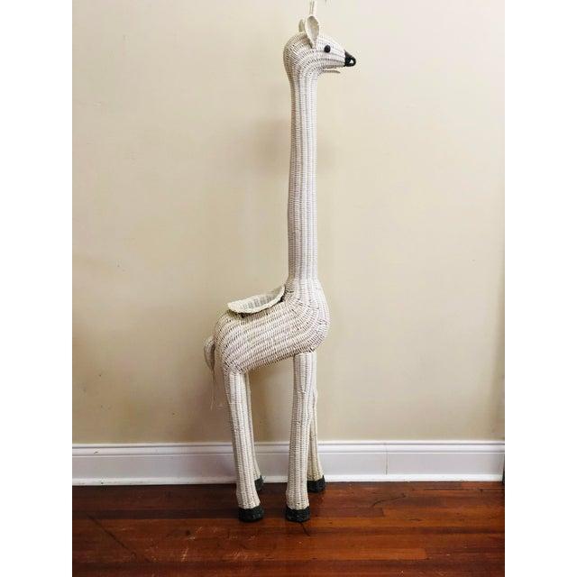Vintage White Wicker Giraffe Planter For Sale - Image 6 of 12