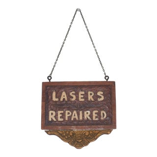 1940s Vintage Sci-Fi Movie Prop Hand Made Ray Gun Lazers Repair Sign Great Piece