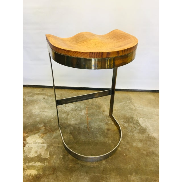 Brutalist 70's Studio Craft Bar Stool by Warren Bacon Mid Century For Sale - Image 3 of 6