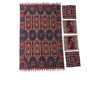 Uzbek Bedspread Embroidered W/4 Pillows For Sale