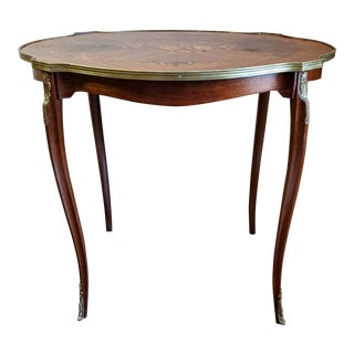 1920s French Louis XV Style Marquetry & Parquetry Salon Table For Sale