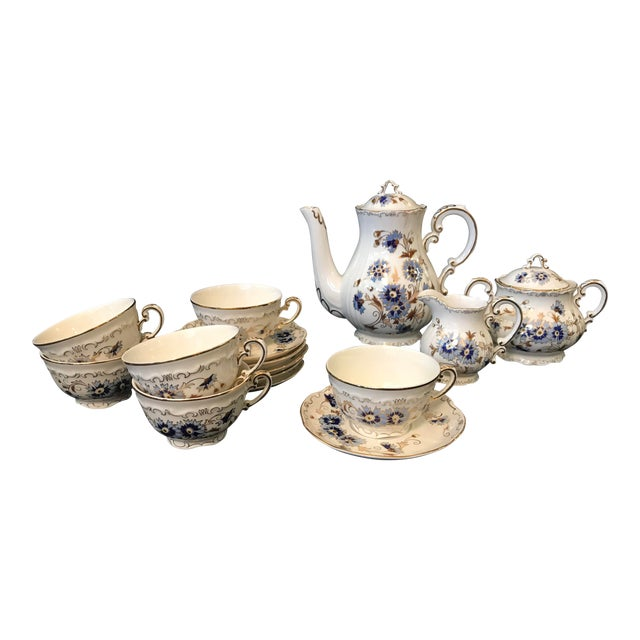 Vintage Zsolnay Hand Painted Porcelain Coffee Set of 15 For Sale