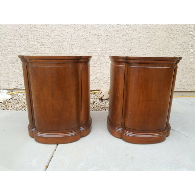 Henredon Henredon Walnut Clover Shaped End Tables - A Pair For Sale - Image 4 of 9