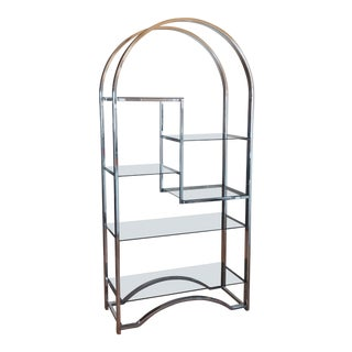 1970's Mid-Century Modern Chrome Etagere With Smoked Glass Shelves For Sale