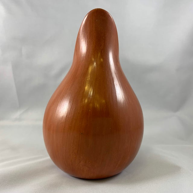 Native American Vintage Redware Vase With Corn Motif in Teardrop Signed Laura Gachupin, Jemez Pueblo For Sale - Image 3 of 8