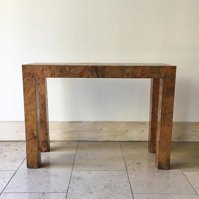 Brass Lacquered Copper and Brass Pathwork Console Table 1970s For Sale - Image 7 of 7