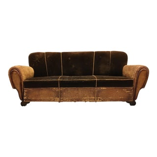 French Art Deco Leather & Mohair Club Sofa, 1930s