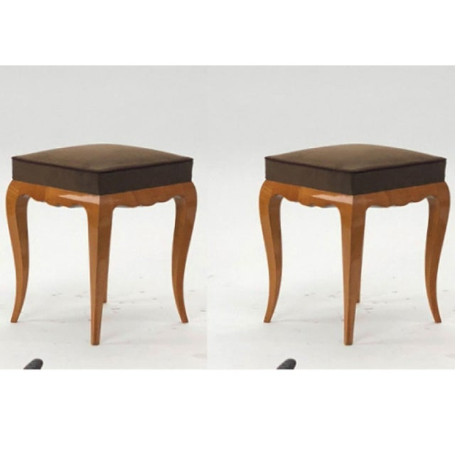 Rene Prou refined solid sycamore pair of stools