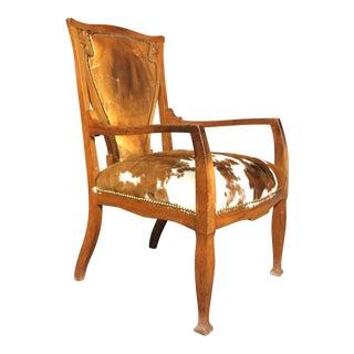 C1915 Art Nouveaux Armchair With Cowhide Seat For Sale