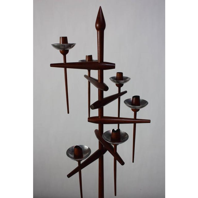 Brown 1960s James Martin Carved Walnut Floor Candelabrum For Sale - Image 8 of 11