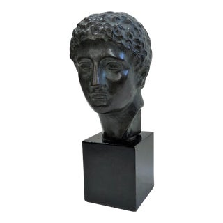 Antique Bronze Sculpture, Classic Bronze Bust Casting of Young Greek For Sale