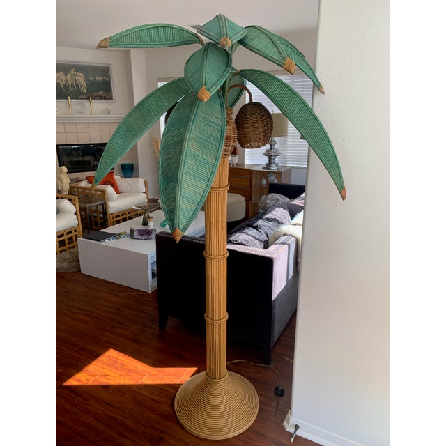 Hollywood Regency Mario Lopez Torres Rattan Palm Tree Floor Lamp For Sale - Image 3 of 10