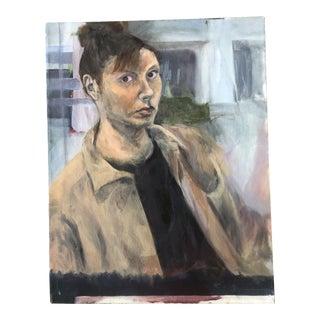 Original Vintage Contemporary Modernist Female Portrait Painting For Sale
