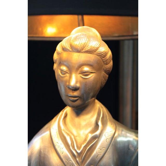 Asian Figure Zinc Table Lamps - A Pair - Image 3 of 4