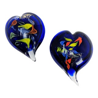 Vintage Cobalt Blue, Rainbow & Gold Flecks Heart Paperweight - a Pair For Sale