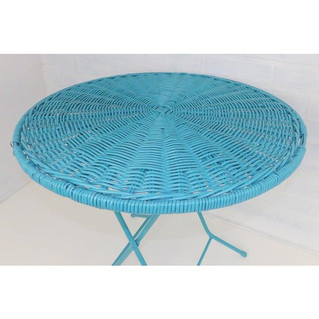 Vintage Teal Folding Wicker Tilt Top Table - Image 3 of 9