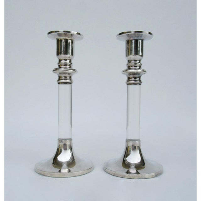 Vinatge: Mid-Century era, into 1970's are these pair of original Lord & Taylor, candle holders made of silver and lucite....