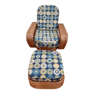 Paul Frankl 6 Strand Chair With Ottomon For Sale