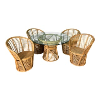 Franco Albini Horizontal Rattan Style Dining Set For Sale