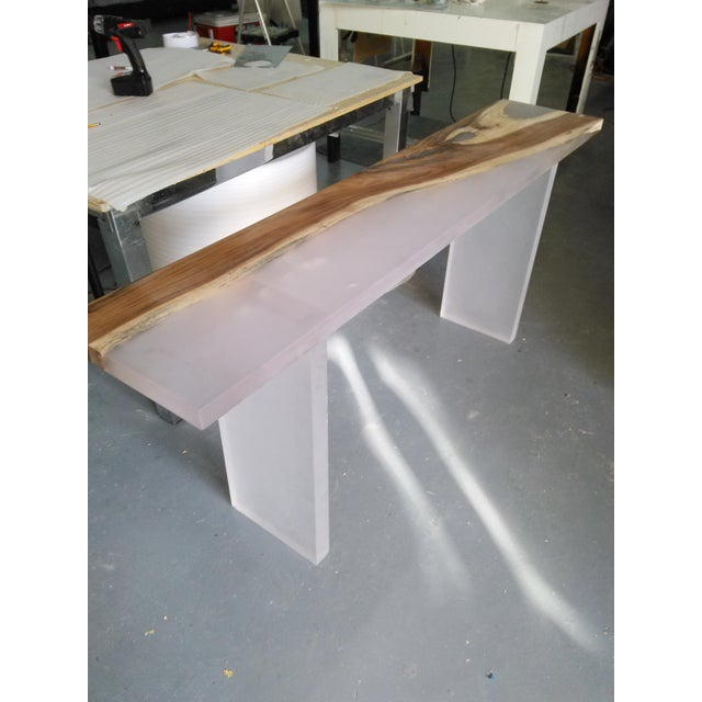 Acrylic Wood Console Table - Image 3 of 6