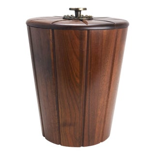 Mid Century Walnut Ice Bucket For Sale